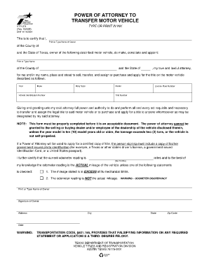 Texas motor vehicle transfer notification form for Power of attorney to transfer motor vehicle form