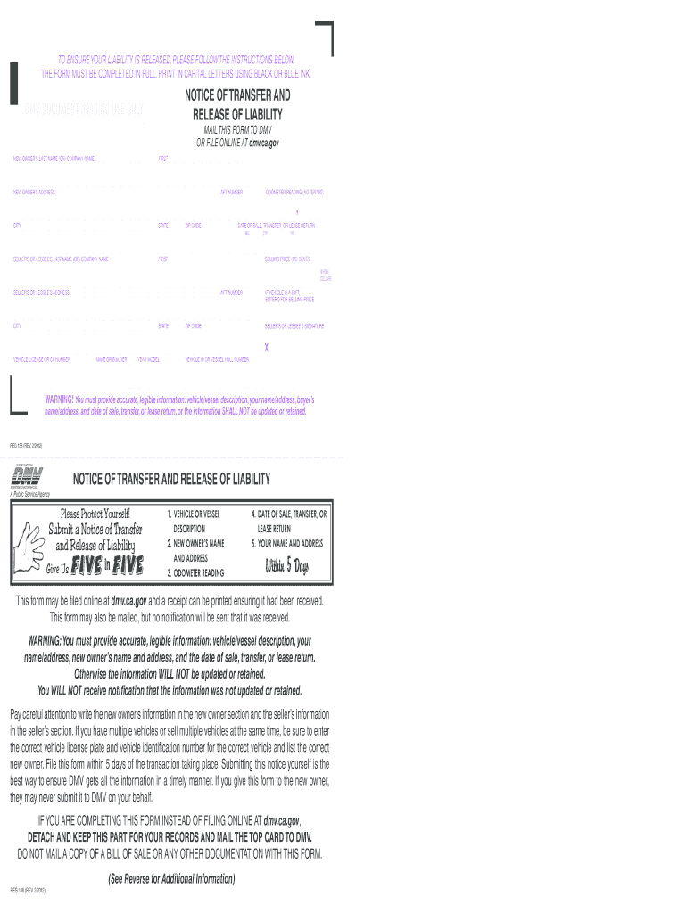 Release Of Liability Ca >> 2012 2019 Form Ca Dmv Reg 138 Fill Online Printable