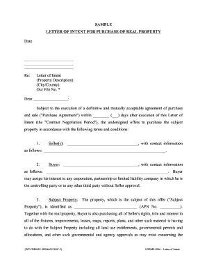 Sample letter to buy land fill online printable for Letter of intent for real estate purchase template