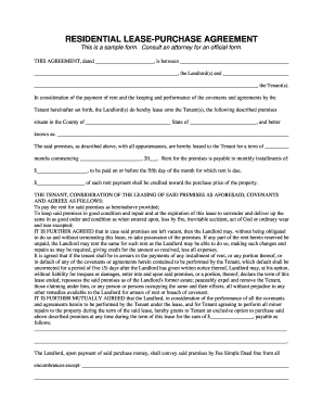 Free Rent To Own Form For Sc  Printable Purchase Agreement
