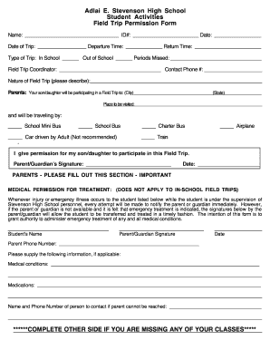 High School Field Trip Permission Form New Jersey - Fill Online ...