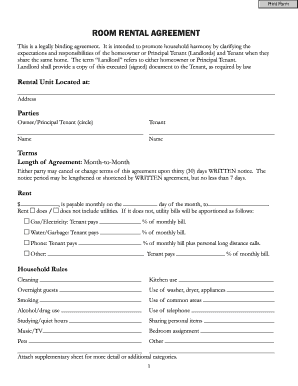 Occupancy Agreement Form For Room Rent - Fill Online, Printable ...