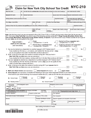 Fillable Online tax ny Form NYC-210:2014: Claim for New York City ...