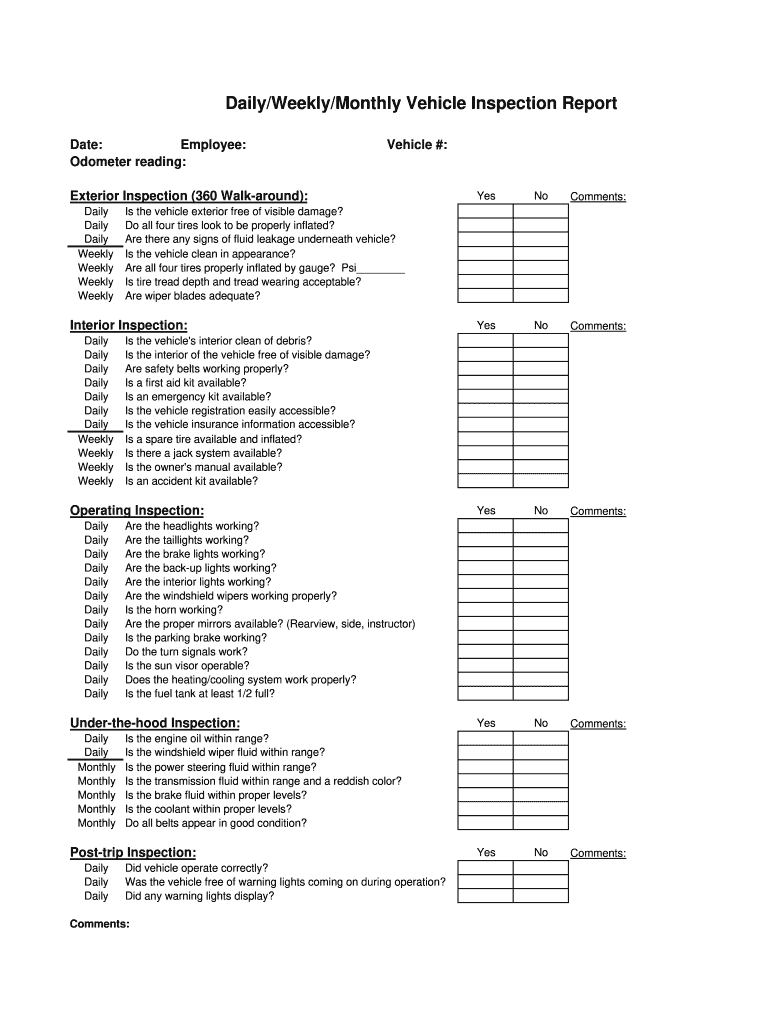 photo regarding Free Printable Vehicle Condition Report Template named Everyday Auto Inspection - Fill On the net, Printable, Fillable