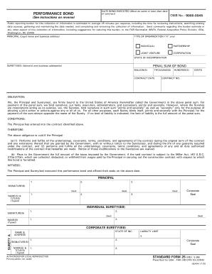 standard form 25  Performance Bond Standard Form 9 9 - Fill Online ...