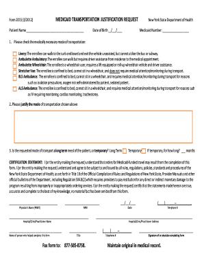 Form 2015 Medicaid Transportation Justification Request - Fill ...