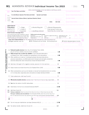 2015-2017 Form MN DoR M1 Fill Online, Printable, Fillable, Blank ...