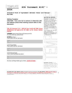 Aia Contract Template | A141 2004 Owner Design Builder Agreement Aia Contract Documents