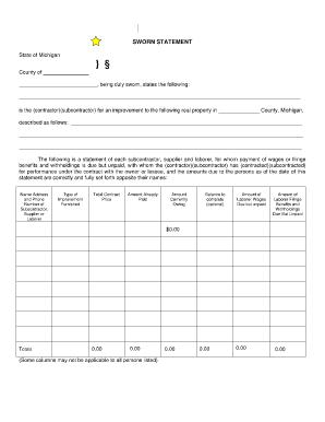 High Quality Sworn Statement Document Regarding Blank Sworn Statement