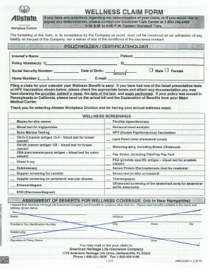 Fillable Online spcollege Allstate Wellness Claim Form - spcollege ...