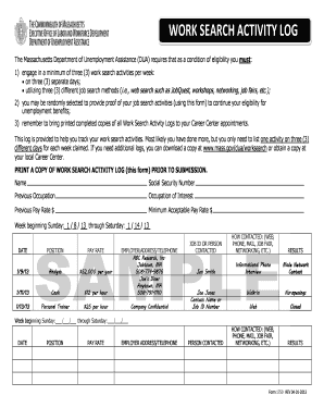 fillable online mass work search activity log mass fax email print