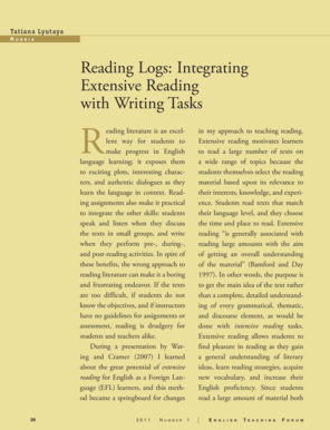 reading logs integrating extensive reading with writing tasks form