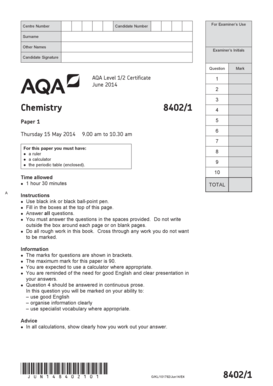 Fillable Online Aqa Level 12 Certificate Chemistry Question Paper Chemistry Paper 1 June 2014 Aqa Level 12 Certificate Chemistry Fax Email Print Pdffiller