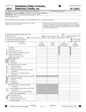 2016 Form CA FTB 541 - Schedule K-1 Fill Online, Printable ...