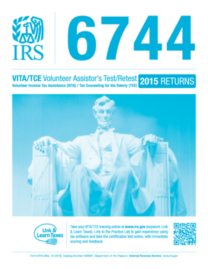 Fillable Online irs Form 6744 (Rev. 12-2015). VITATCE Volunteer ...