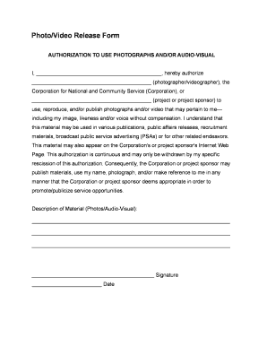 photovideo release form