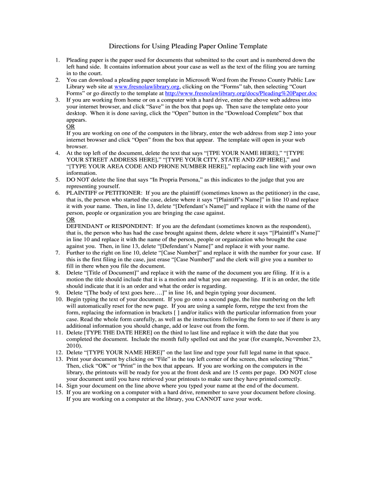 Pleading Paper - Fill Online, Printable, Fillable, Blank | PDFfiller