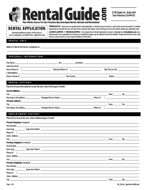 blank rental application
