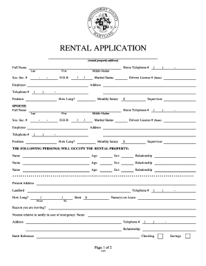 Maryland Rental Application - Fill Online, Printable, Fillable ...