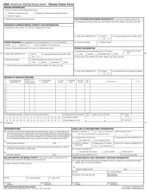 Ada dental form 2012