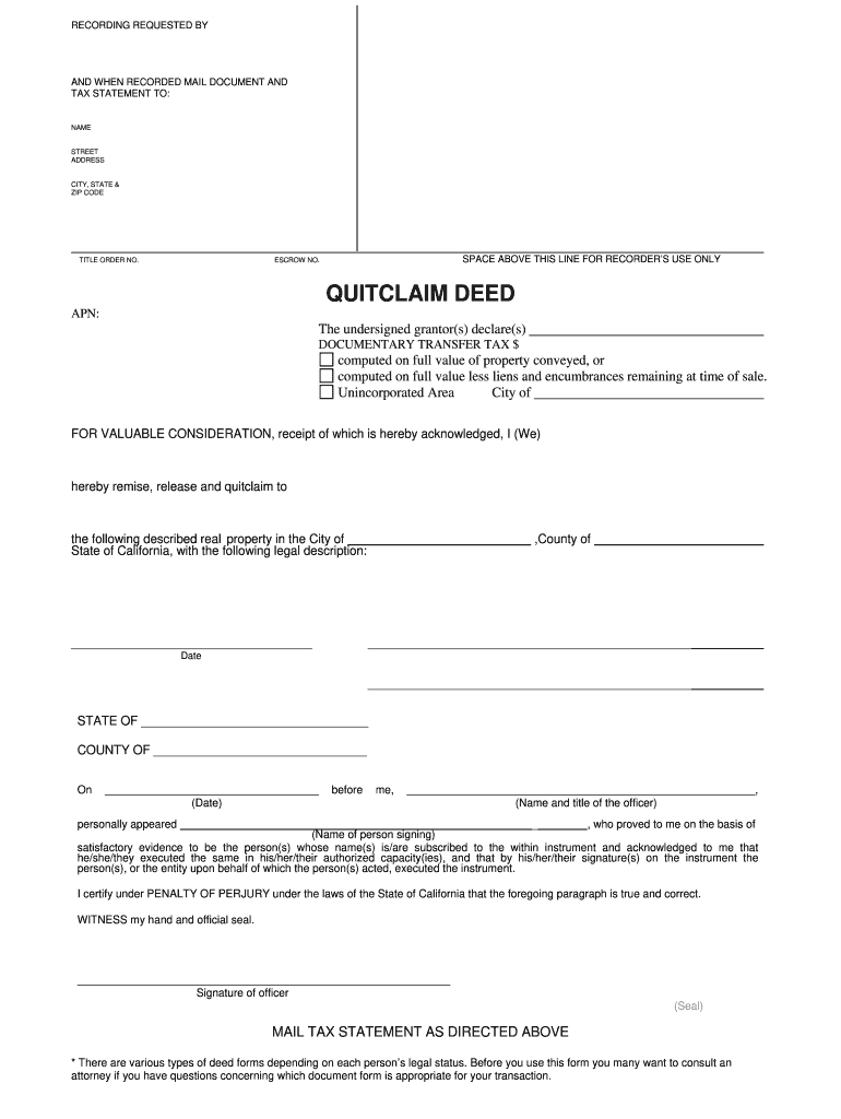 California Quitclaim Deed Blank Legal Forms Real Estate Email Delivery