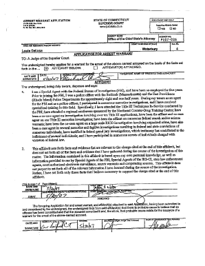 Fillable Online cga ct Arrest Warrant and Affidavit