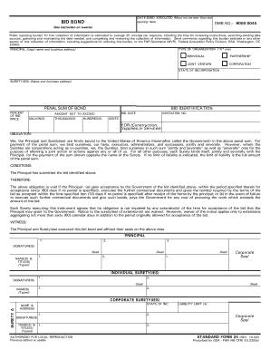Bid Bond Standard Form 24 Rev 10 98 - Fill Online, Printable ...