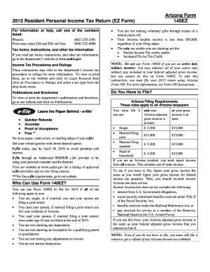 Fillable Online azdor 140EZ instructions Fax Email Print - PDFfiller