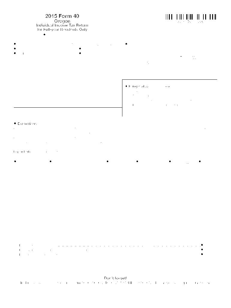 2015-2019 Form OR DoR 40 Fill Online, Printable, Fillable