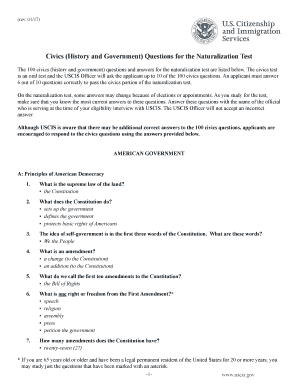 graphic relating to Printable United States Citizenship Test named Fillable On line uscis Thoughts for the Naturalization Try