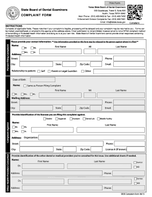 texas dental board complaints - Edit & Fill Out Online