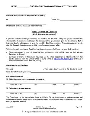 divorce decree online - Fillable & Printable Templates to