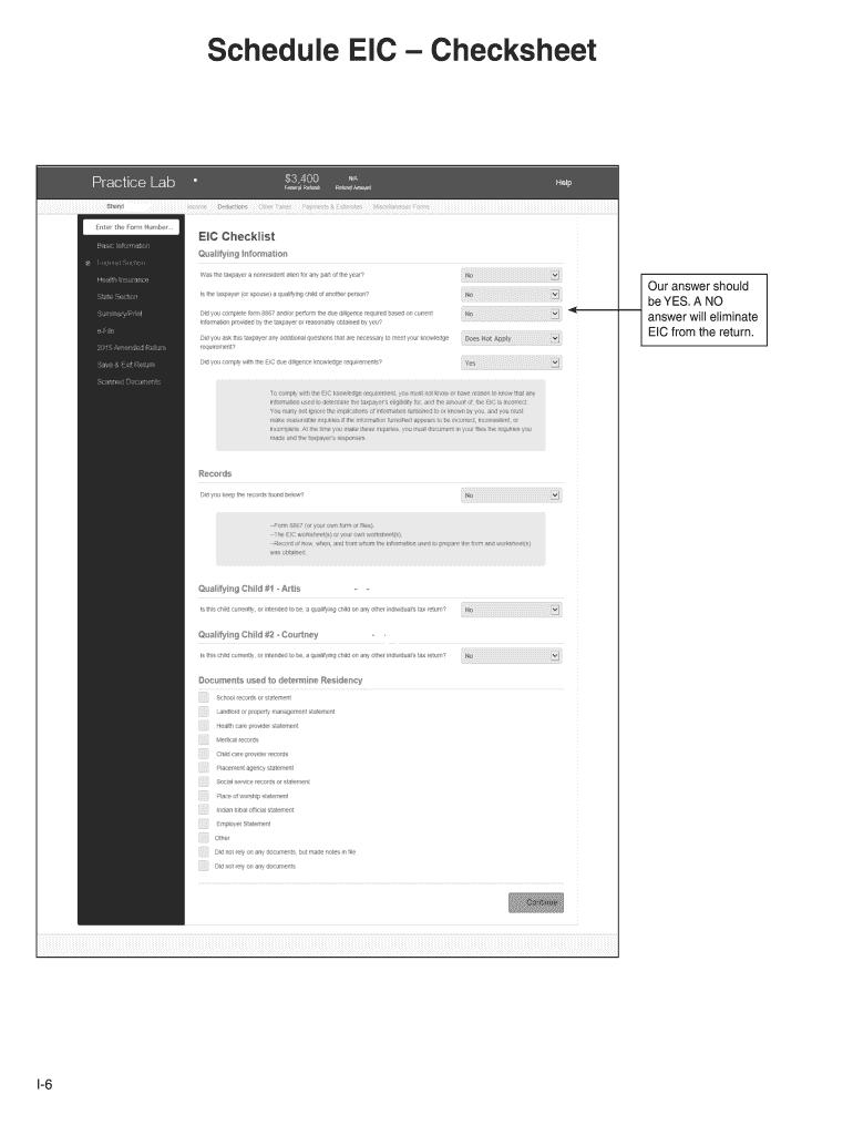 Eic Worksheet Fill Online Printable Fillable Blank Pdffiller