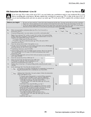 Printables Ira Deduction Worksheet 2015 ira deduction worksheet line 32 instructions form fill online instructions