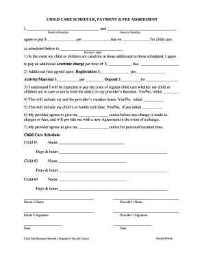 babysitter contract pdf fill online printable fillable blank