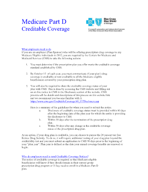 part d creditable coverage fillable notice fill online printable fillable blank pdffiller