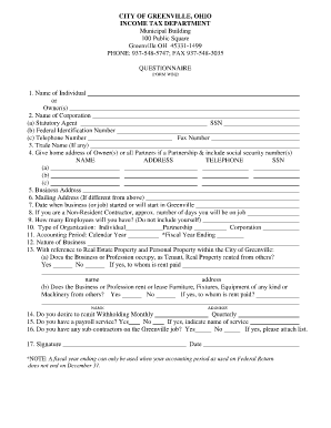 Greenville Ohio City Tax Form - Fill Online, Printable, Fillable ...