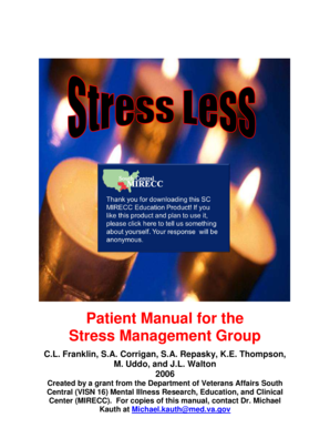 Stress Less Patient Manual for the Stress Management Group
