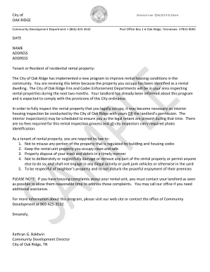 letter to tenant to clean up yard   Fill Out, Print & Download