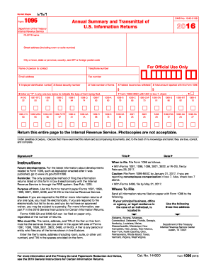 2017 Form IRS 1096 Fill Online, Printable, Fillable, Blank - PDFfiller