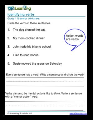 Fillable Online Grade 1 Grammar worksheet - Verbs Grade 1 ...