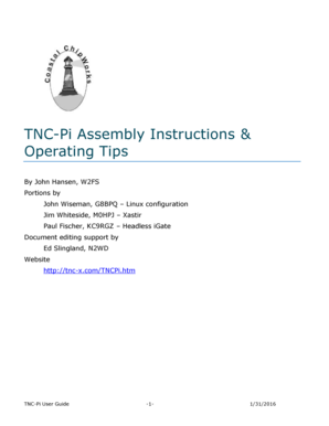 Fillable Online TNC-Pi Assembly Instructions Operating Tips