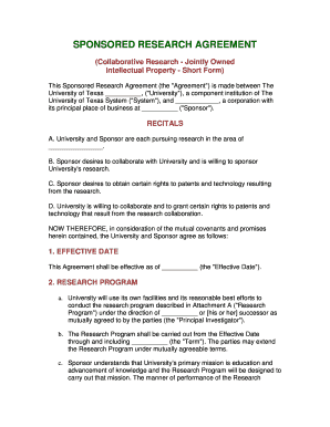 Fillable Research Collaboration Agreement Intellectual