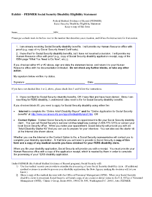 Fedmer Social Security Disability Eligibility Statement Form