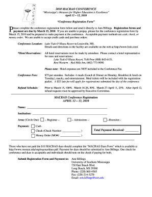 2010 MACRAO CONFERENCE Reg Form