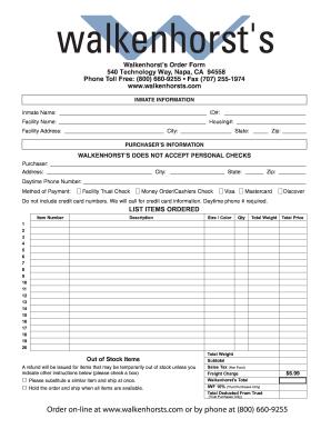 Walkenhorst Order - Fill Online, Printable, Fillable, Blank