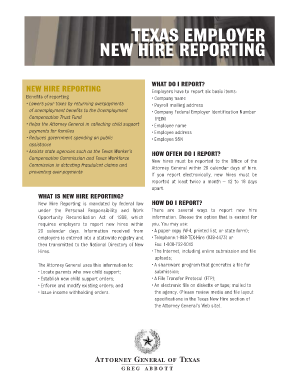 Texas New Hire Reporting - Fill Online, Printable, Fillable, Blank ...
