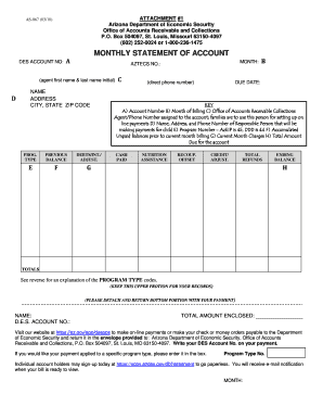 DES Office of Accounts Receivable Monthly Statement Template