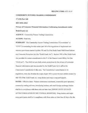 Federal Register Privacy of Consumer Financial Information Conforming Amendments under Dodd-Frank Act - cftc