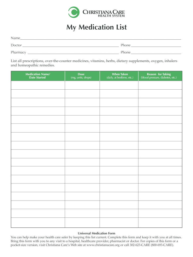 Medication List Template Fill Online Printable Fillable Blank Pdffiller